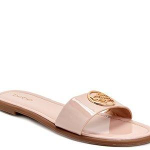 🌟Bebe nude patent gold emblem slide sandal